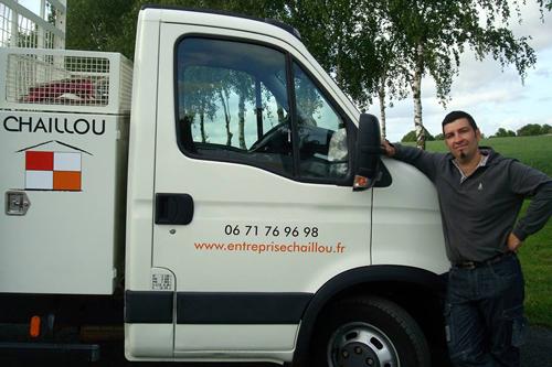 Entreprise de bâtiment Chaillou, camion avec Yohann