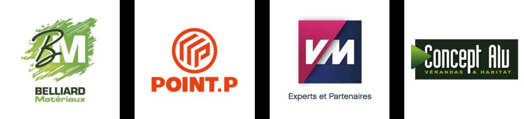 Partenaires de l'entreprise Chaillou Bâtiment : Belliard Matériaux, Point P, VM, Concept Alu